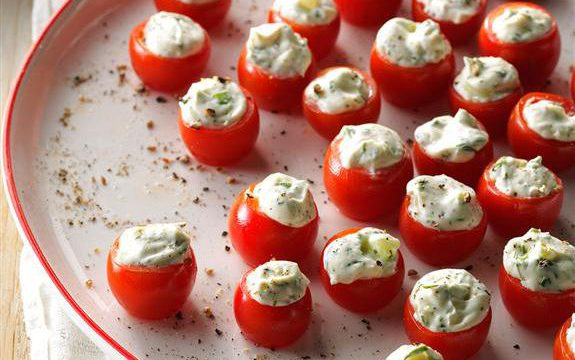 cream cheese stuffed cherry tomatoes, cold recipes, no-heat recipes